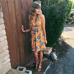 Vintage 60's Flower Child Mini; Floral Mini Dress